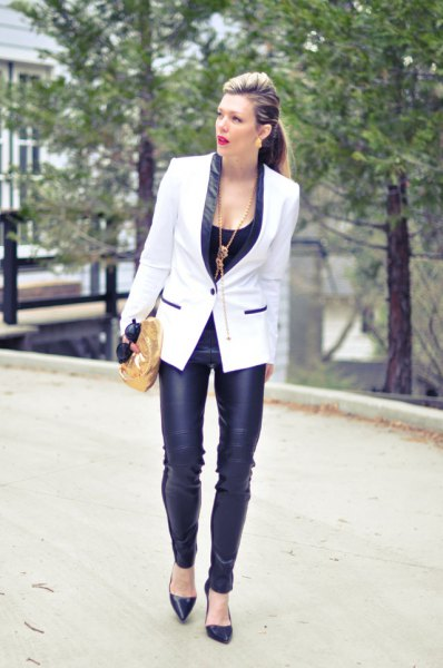 white and black blazer with leather skinny pants