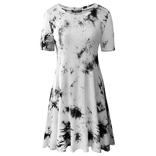white and black tie dye t shirt mini skater dress
