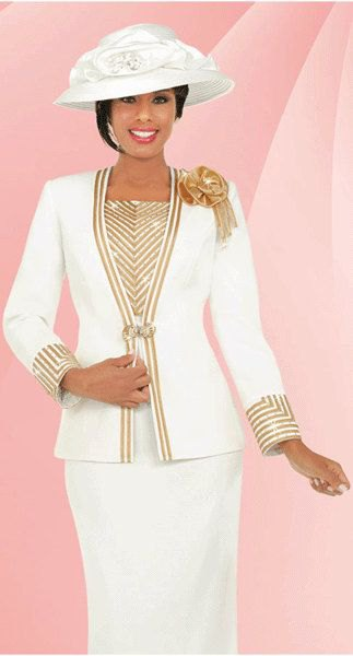 white and gold suit with matching church hat