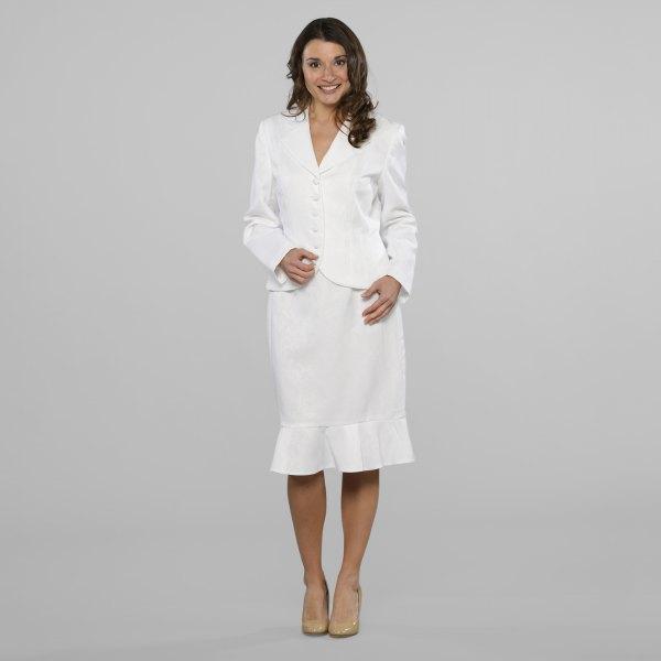 white blazer jacket with midi matching ruffle hem dress and pink heels