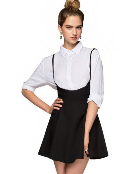 white button up shirt with black mini high rise skirt