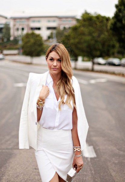 white button up shirt with matching suit jacket and wrap skirt