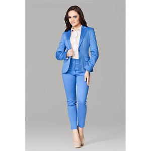 white button up shirt with royal blue suit and pink heels