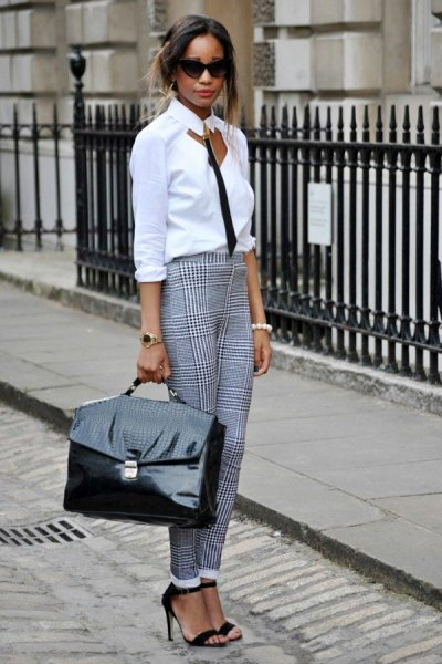 white cutout shirt with slim fit plaid cuffed pants