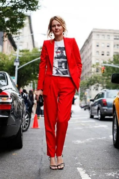 white graphic tee with red suit jacket and matching pants
