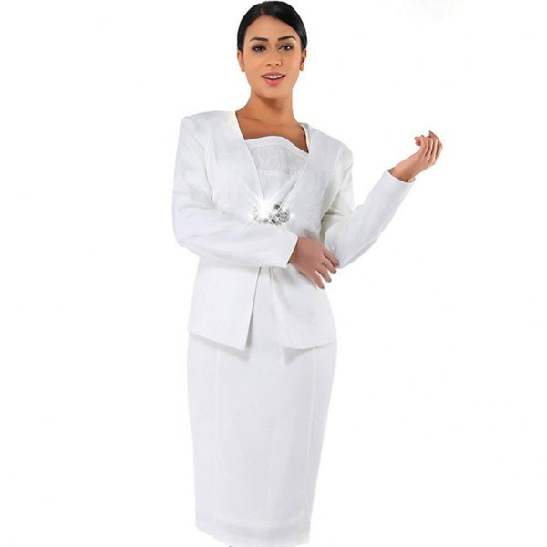 white lace knee length shift dress with casual suit jacket