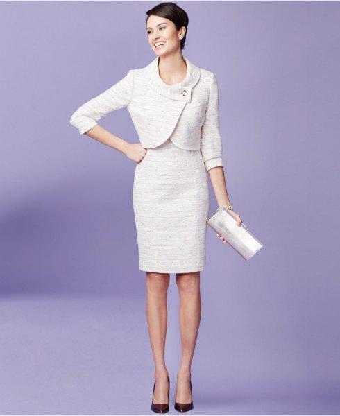 white mini wrap suit jacket with knee length bodycon dress