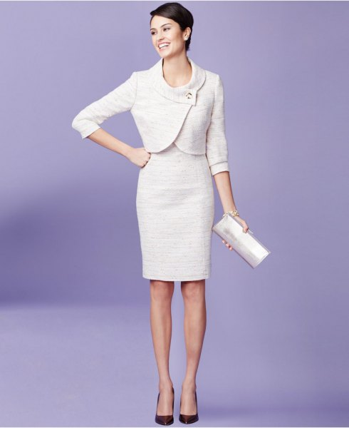 white mini wrap suit jacket with knee length bodycon dress