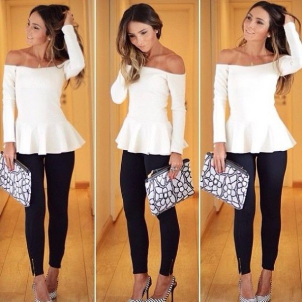 white off the shoulder tunic dressy blouse with black skinny jeans