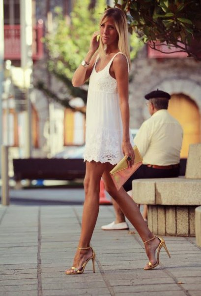 white scalloped hem tank mini dress with gold open toe heels