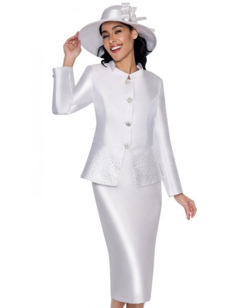 white silk skirt suit with matching felt hat