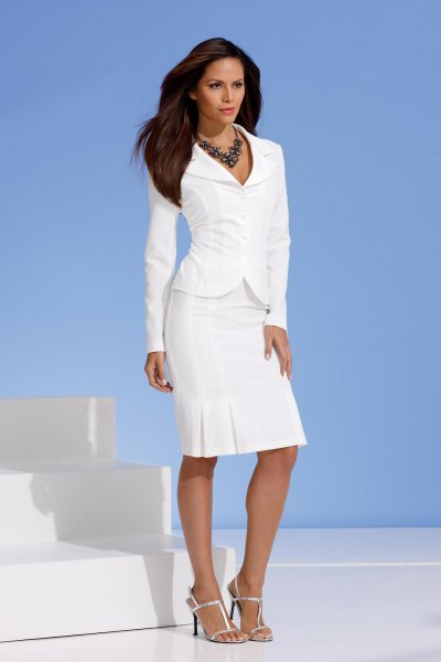 white slim fit blazer with matching straight cut knee length skirt