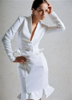 white slim fit suit jacket with midi ruffle hem dress