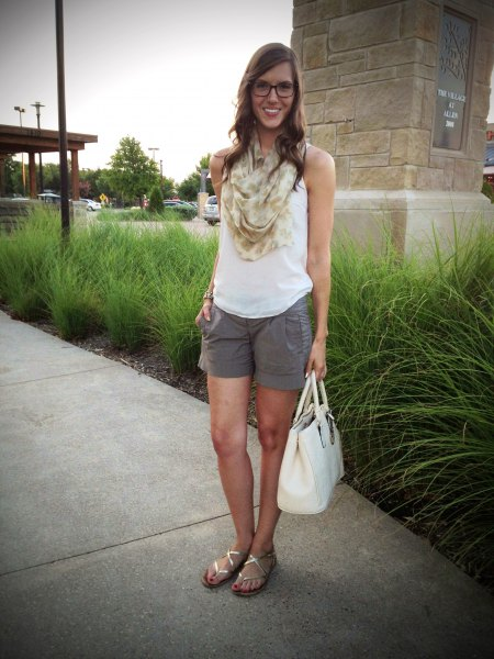 white tank top with blush pink infinity summer scarf