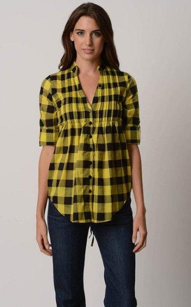 yellow and black plaid peplum shirt with dark skinny jean
