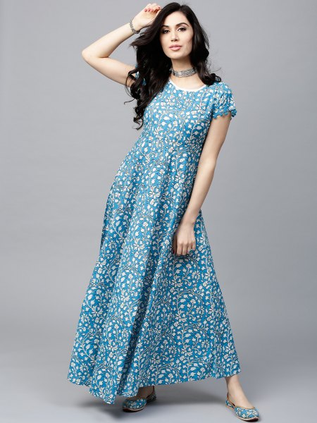 aqua blue and white polka dot fit and flare maxi dress with choker