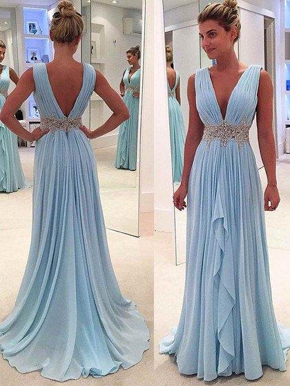 belted deep v neck pleated light blue prom dress