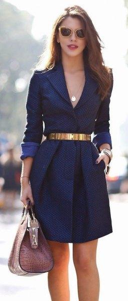 belted midnight blue mini belted deep v neck blazer dress