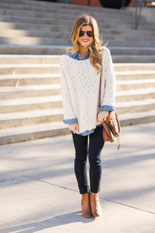 0a6ec39752 How to Wear Oversized White Sweater  Best 13 Cozy Outfit Ideas for ...