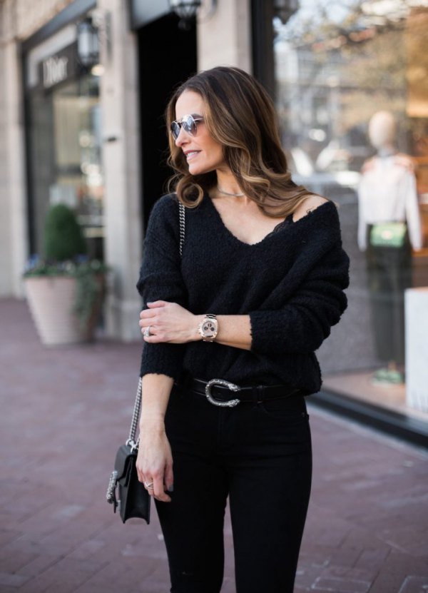 8888c0ad9dc6 Best 15 Black V Neck Sweater Outfit Ideas  Style Guide - FMag.com