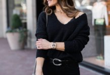 best black v neck sweater outfit ideas for women