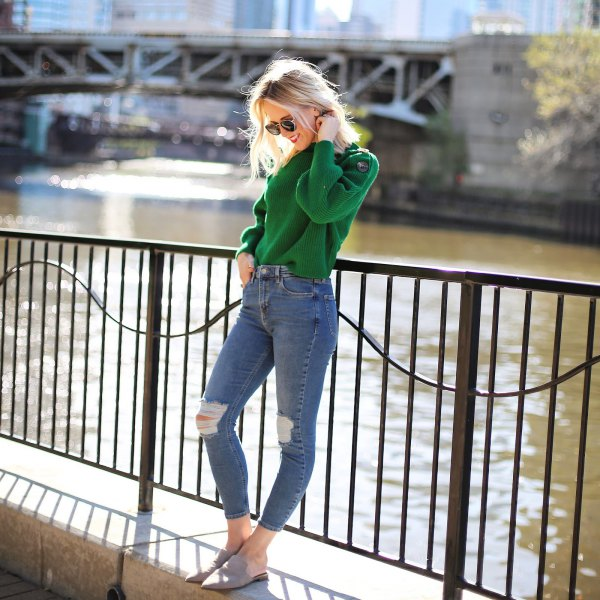 How To Style Green Sweater Best 13 Refreshing Cozy Outfits For Ladies Fmag Com