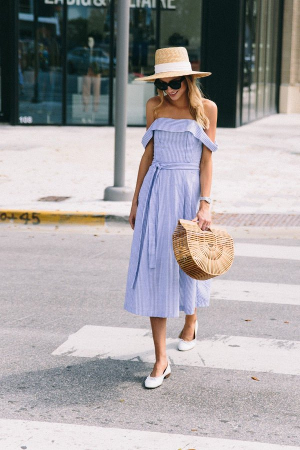 Style Blue and White Striped Dress
