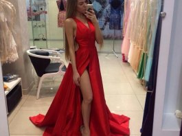 best red v neck dress outfit ideas for women