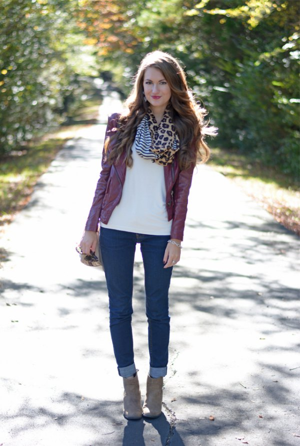 e7cf93d06a How to Style Maroon Leather Jacket  Best 13 Deeply Beautiful Outfits ...