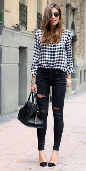 black and white checkered shirt with ripped skinny jeans