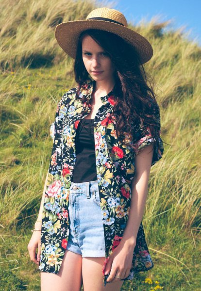 black and white floral printed oversized hawaiian shirt with straw hat