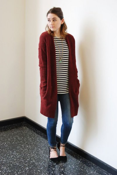 black and white striped long sleeve tunic tee with longline cardigan