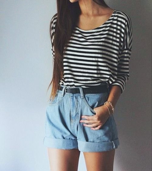 black and white striped scoop neck tee with light blue unwashed high rise shorts