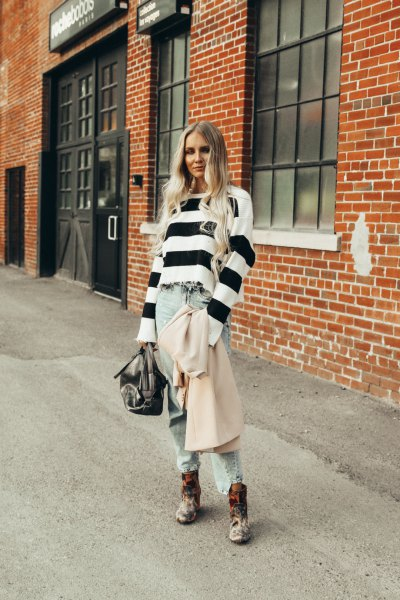 black and white wide striped sweater with boyfriend jeans