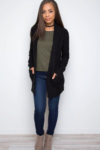 black cardigan sweater with choker and grey tee