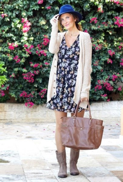 black felt hat with floral printed shift dress and ribbed long cardigan