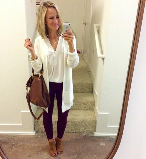 black long cardigan with white v neck top and open toe short boots