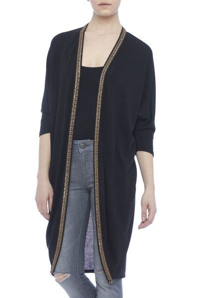 black longline cardigan with scoop neck tee and grey jeans