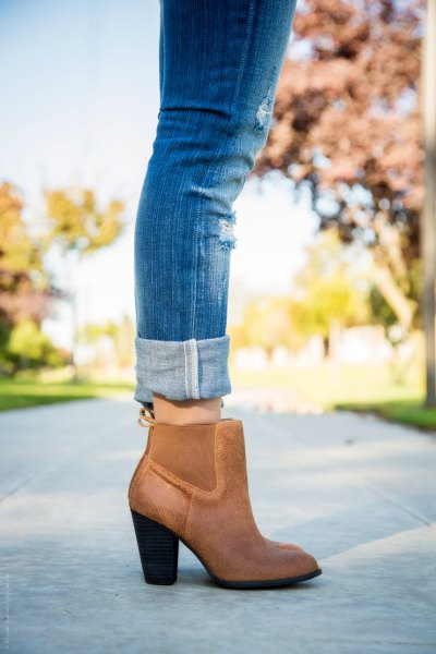 blue cuffed jeans with brown leather ankle heeled boots
