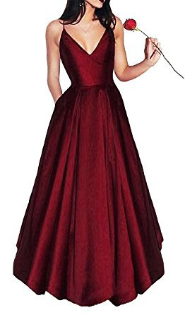 burgundy v neck fit and flare maxi dress