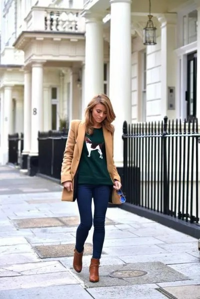 camel long wool coat with dark blue skinny jeans and brown leather ankle boots