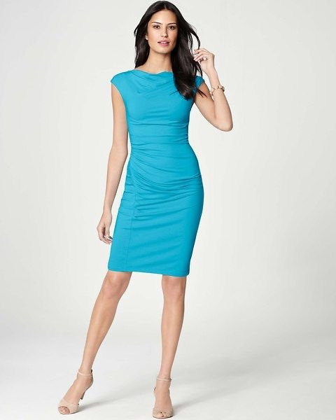 cap sleeve bodycon knee length aqua blue dress