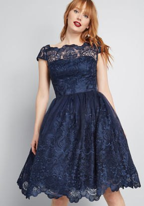 cap sleeve fit and flare knee length dark blue dress