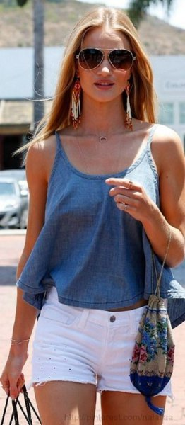 chambray tank top with white mini denim shorts