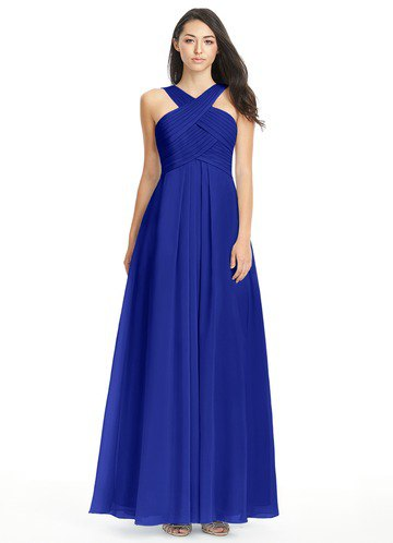 criss cross neckline fit and flare royal blue maxi dress