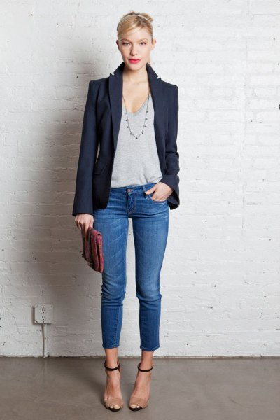 dark blazer with grey low scoop neck tee and cropped jeans