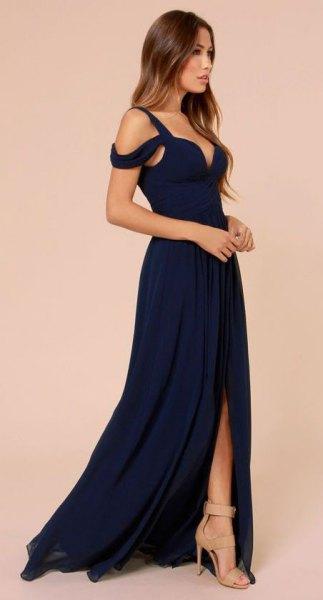 dark blue cold shoulder deep v neck high slit maxi dress
