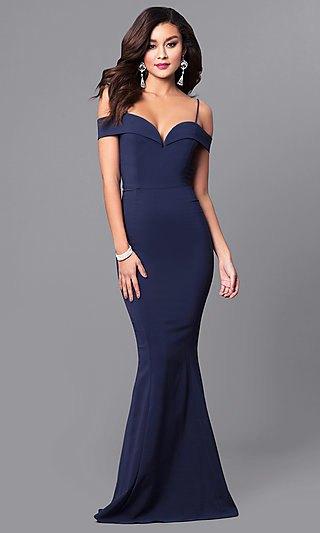 dark navy blue sweetheart neckline maxi formal dress