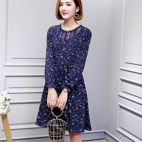 dark royal blue floral printed mini swing dress