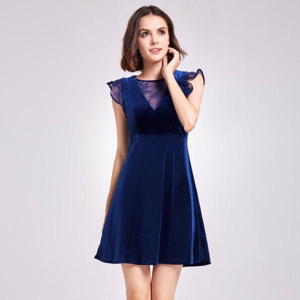 deep blue cap sleeve fit and flare mini velvet dress